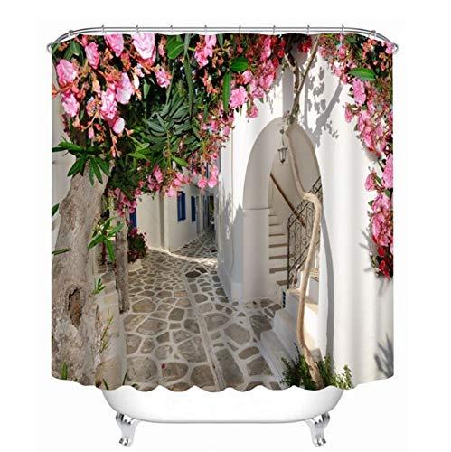 3D View Shower Curtain Fiori Paesaggio Parete Pattern Bagno Tenda da Bagno Impermeabile Lavabile Tenda Personalizzabile (W) 200x(H) 180cm