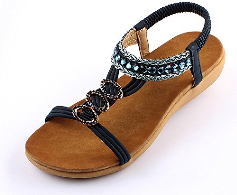 HAIZHEN Frauenschuhe Sommer-flache Ferse-Diamant-Art- und Weisedame-kühle Schuhe mit 2 Farben Für Frauen (Farbeö
