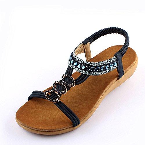 Chaussures sexy à l'été et au talon plat en diamant avec 2 couleurs ( Couleur : 1001 , taille : EU39/UK6/CN39 ) 1001