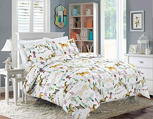voice 7 Luxus-Bettwäsche-Set, Lapland Pferde Show, Schmetterling, Polycotton, Super-Bettwäsche-Set, UK-Größen, Polycotton, Horse Show, Super King Duvet Cover with 2 Pillow Cases