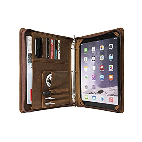 Coface Vintage Crazy Horse Carnet de portefeuille en cuir véritable Carnet professionnel Organiseur professionnel avec classeur à 3 anneaux pour iPad pro 12,9