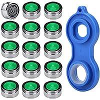 Perlator Strahlregler m24 Wasserhahn Sieb Einsatz, HTBAKOI Perlatoren für Wasserhähne 15pcs Material Messing von verchromt mit ABS-Kunststoff-Filter + 1 Stück Universaler Perlator Schlüsse