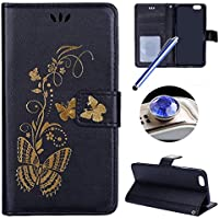 Etsue iPhone 6 Cover,iPhone 6S Custodia in Pelle,Elegante Bella Butterfly Oro Gold Artificiale Leather PU Puro Portafoglio Case Cover,Wallet/Libro/Flip Protettiva Case Cover Con Magnetica Chiusura/Card Slot/Supporto di Stand Per iPhone 6/6S 4.7+Blu Stylus Pen e scintillio di Bling Diamond Dust Plug colora casuale-&Black& - Chiusura Plug