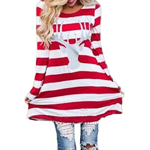 Christmas Damen Pullover Bluse Tops Mama mit Tochter Niedlich Elche muster Weihnachten miniKleid Mode Hemd Streifen Langarm Rundhals Partykleider Santa Geschenke Elecenty (Rot, L) (Silber Herren Streifen)