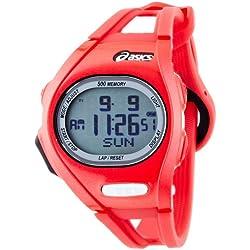 Asics CQAR0110 - Reloj con correa de acero para hombre, color rojo/gris