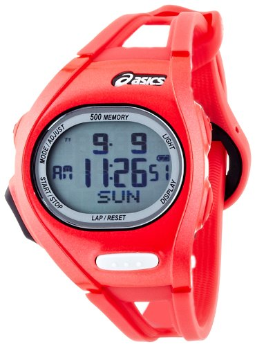 Asics CQAR0110 – Reloj con correa de acero para hombre, color rojo/gris