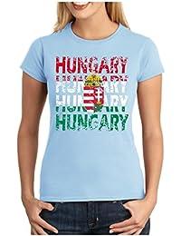 OM3 - HUNGARY - Damen T-Shirt tailliert - UNGARN WM 2018 Russland Fussball World Cup Soccer Fanshirt Moskau Sport Trikot Champion, S - XXL