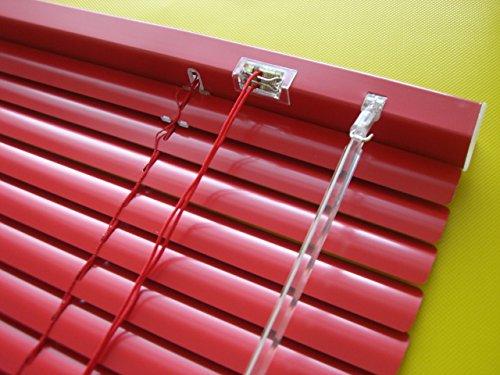 Alu Jalousie Rot – Breite 50 bis 240 cm – Höhe 130 / 160 / 220 cm – Tür Fenster Rollo Jalousette Aluminium Fensterjalousie Lamellen Metall