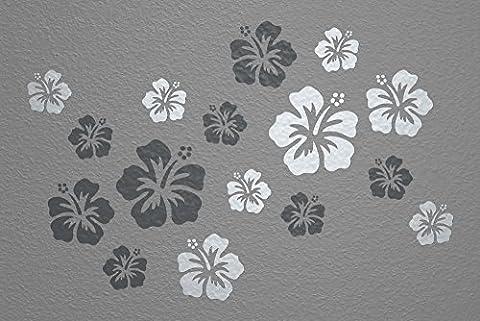 WANDfee® Wandtattoo 16 Hibiskus Blüten AC0612122 Größe Ø 7 - 15 cm, 2 x Ø 15 cm, 4 x Ø 11 cm, 10 x Ø 7 cm Farbe dunkelgrau