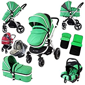 i-Safe System - Leaf Trio Travel System Pram & Luxury Stroller 3 in 1 Complete with Car Seat + Footmuff + Carseat Footmuff + RainCovers   14