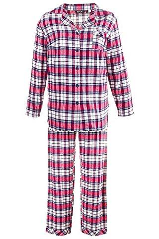 Ulla Popken Women's Plus Size Warm Flannel Pajama Set Multi