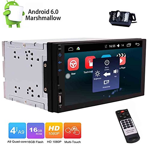 EINCAR Kostenlose Back-up-Kamera inklusive Android 6.0 Quad-Core-Autoradio-Doppel-DIN-Stereo in Dash-TFT-LCD Touch Screen Kapazitive GPS Sat NAV Bluetooth/RDS/SD/USB / OBD2 / Cam-in-Auto k (Handy-back-up-kamera)