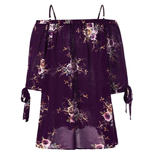 Tshirt Oberteile Damen Elegant Sommer Kurzarm Plus Size Blumendruck Cold Shoulder Bluse Casual Tops Camis (Lila, XL)