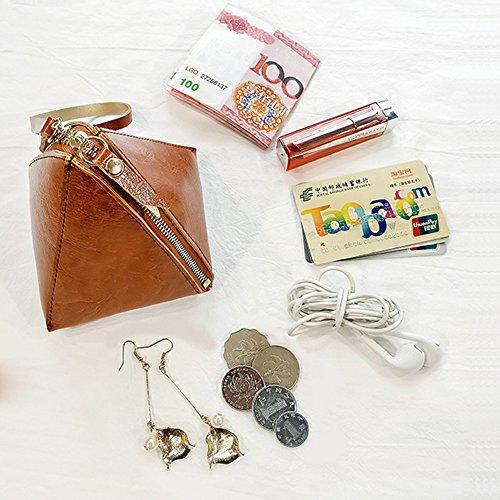 Woolala Donna Triangle Portafogli Piccoli Portafogli Portafoglio Organizzatore Zip Moneta Pocket Mini Borsa Con Wristlet, Nero Green