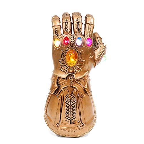 (Xcoser Halloween Thanos Handschuhe mit LED Latex Gauntlet Gems Replik Film Cosplay Kostüm Zubehör für Herren Verrücktes Kleid 2018 (Gold))