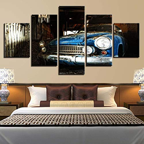 mmwin Leinwand Malerei Sport Auto Motorrad Flugzeug Segelboot Poster Wanddruck Leinwand 5 Panel Hauptdekorationen Wohnzimmer 96