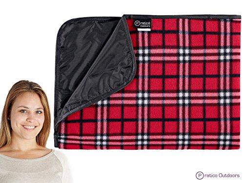 Pratico GC02Hülle Outdoor Premium Extra große Picknick & Outdoor Decke mit Verbesserte Unterstützung, mit Schnalle, & Maschinenwaschbar, rot kariert, Standard - 60 x 80 in