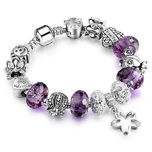ZGRJIUERYI Armband,Damen Armband, Cut Face Kristall Big Bead Armband, Handgefertigte Silber Perlen Armband, Für Damenmode Bekleidung Lila, 19Cm - Big Kinder Bekleidung Lila