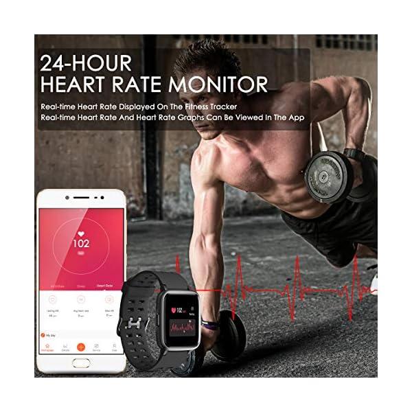 CHEREEKI Reloj Inteligente, Smartwatch Impermeable IP68 Pulsera Actividad 1.3 Pulgada con Monitor de Ritmo cardíaco… 5