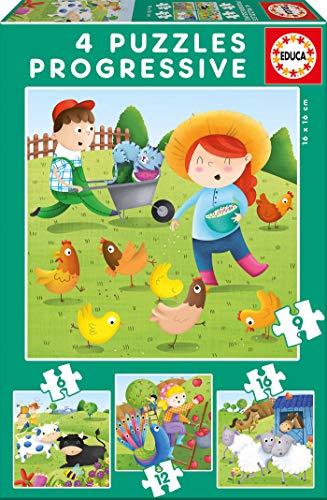 Educa Borrás - Animales de la Granja Set de 4 puzzles progresivos...