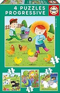 Educa Borrás - Animales de la Granja Set de 4 puzzles progresivos de 6, 9, 12 y 16 piezas (17145)