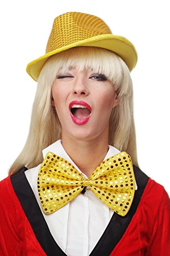 DRESS ME UP - Fliege Clownfliege Clown groß Bowtie gelb Glitzer Pailletten Riesenfliege ()