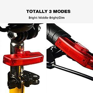 Luz de la cola trasera de la bicicleta, Suniness USB CREE Recargable Luz de bicicleta trasera LED impermeable recargable con 5 opciones de modo de luz para bicicleta Luz de seguridad de la linterna (Rojo-Rectángulo)