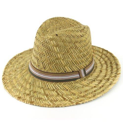 Fedora Chapeau de Paille avec bords larges Marron rayé bande de soleil