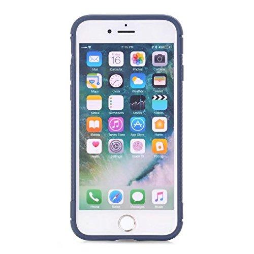 EKINHUI Case Cover Ultra-dünne Carbon-Faser Shockproof harte rückseitige Abdeckung 360 ° volle Körper-schützende TPU Fall-Abdeckung für iPhone 7 ( Color : Red ) Blue