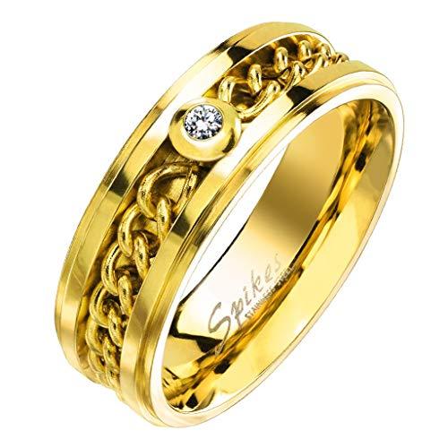Paula & Fritz Damenring Silber Gold inneliegende Kette eingefasster Zirkonia Verlobungs-Ring Freundschaftsring Herrenring Partnerring Edelstahl Chirurgenstahl 316L R-M6006G_90