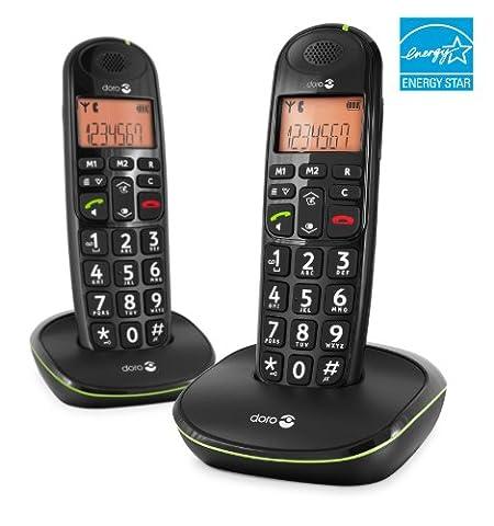 Doro PhoneEasy 100w Duo DECT Schnurlostelefon mit zusätzlichem Mobilteil (Ladeschale, Freisprechen)