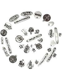 RUBY 50 Piezas Colgantes de Metal Abalorios Estilo de Plata Diversos Modelos