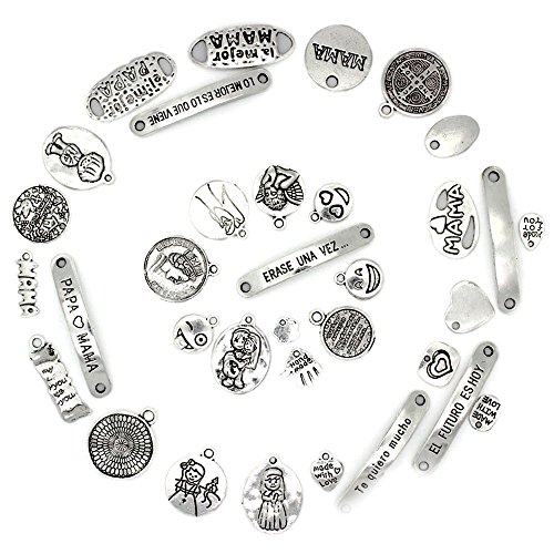 RUBY 50 Piezas Colgantes de Metal Abalorios Estilo de Plata Tibetana Forma Mixta Varios Temas para elaborar Bisutería (Placas)