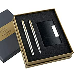 Parker Galaxy Gold Trim Ball Pen with Free Card Holder (Stainless Steel)