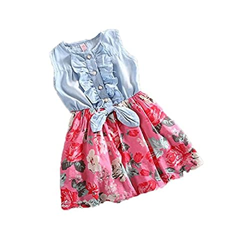 Internet Baby Girls Tutu Denim Dress Short Sleeve Lace Princess Party Skirts for 1-6 Years Old (3-4 years old, Hot Pink)