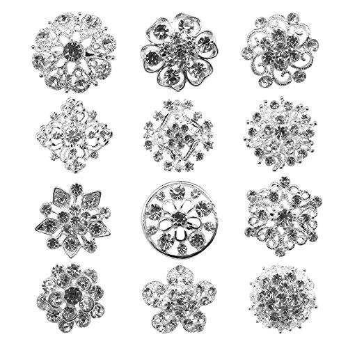 keland 12pcs Mix Set Crystal Button Broschen Schals Schnalle Floriated Brosche Strass Corsage Bouquet Kit Großhandel Lot (Silber) (Strass Kristall Brosche)