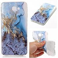 Cozy Hut Für Samsung Galaxy J7 Prime SM-G610F Handyhülle mit Marmor / Marble Design(blau / weiß) | Handytasche | | Schale | | Hülle | | Case | Handy-etui | TPU-Bumper | Soft Case | Schutzhülle Cover für den optimalen Schutz ihres Samsung Galaxy J7 Prime SM-G610F - Marmor-blauer Marmor