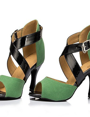 ShangYi Chaussures de danse ( Vert ) - Personnalisables - Talon Personnalisé - Flocage - Latine / Jazz / Salsa / Samba / Chaussures de Swing Green
