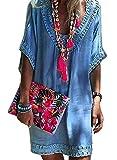 Dearlove Elegant Strandkleid Damen Oversize Sommer Kleider 3/4 Arm V Ausschnitt Minikleid mit Häkel Bohokleid Tuniken Bikini Cover Up für Mollige Blau L