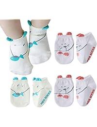 Happy Cherry - (pack de 4 pares) Calcetines Verano Bebés Antideslizantes Baby Recien Nacido Zapatillas Dibujo de Animal Lindo Bebés Niños Niñas de 0-3 años - Talla S M - Gato