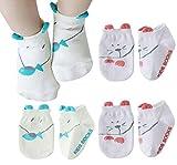 Happy Cherry - 4 pares Calcetines Antideslizantes para Bébés Recien Nacido Zapatillas Calcetines Corto para Verano Dibujo de Animal Lindo - Talla S (0-2 años) - 11cm