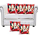Tanya's Homes 3 D Printed Cartoon Design Red Polyester Cushion Covers -Pack Of 5 Pc ; Size :- 16 Inch Or 40 Cms