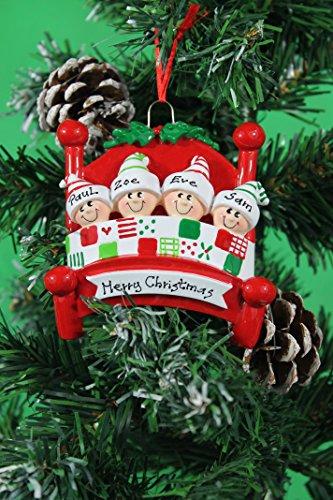 Personalized árbol de Navidad decoración adornos cama Jefes familia–de la familia de 2a 5MEMBERS- Get su deseo de los nombres en la items- un regalo perfecto de Navidad, 4