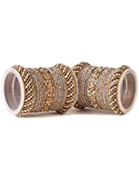 Traditional Grey Silk Thread Bangle Set By Leshya For Two Hands