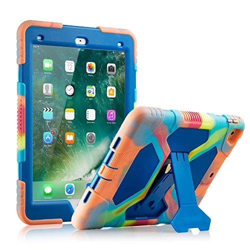 Neue iPad 9,72018/2017Fall, kidspr leicht stoßfest Robuste Cover mit Stand Schutz Full Body Rugged für Kinder für neue Apple iPad 24,6cm 2018/2017(6. Gen, 5. Gen.) Ice/Blue - Blue Ice-snap