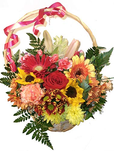Flores naturales domicilio variadas cesta envio nota