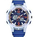 AnazoZ Relojes Unisex Reloj Hombre Moda Reloj Deportivo Reloj Multifunción Relojes Electronicos Reloj Impermeable Blanco Azul