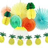 SUNBEAUTY 9er Set Lampion Gelb Wabenbälle Ananas Papier Deko Seire Sommerparty Dekoration Zimmerdeko