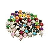 perfk 50pcs Glasperlen runde Bunte gemischte Größe Perlen für DIY Leder Tasche Schuhe Kleidung Dekoration
