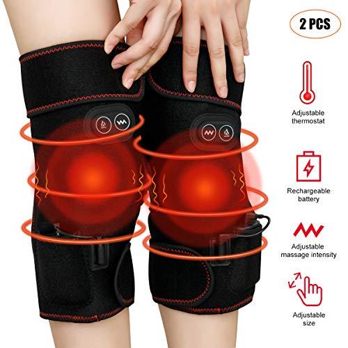 Riscaldati tutore ginocchio massaggiatore, alleviare il dolore alle articolazioni, 3 velocità termostato e massaggio regolabili, dimensioni regolabili, riscaldamento rapido, li-batteria ricaricabile